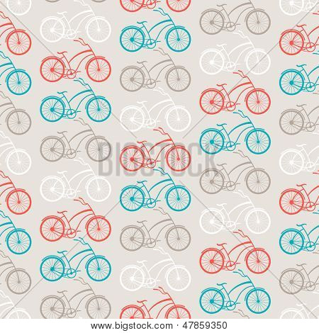 Bicycles seamless pattern in retro style.