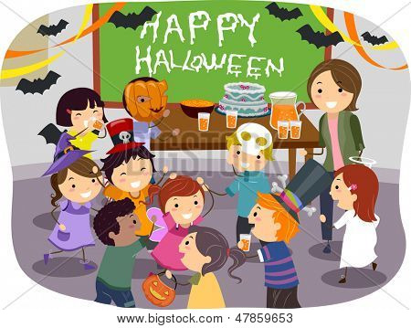 Illustration of Stickman Kids having Halloween Party at School