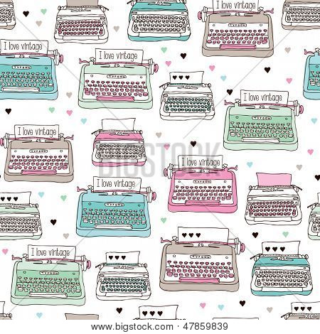 Seamless vintage illustration typewriter background pattern in vector