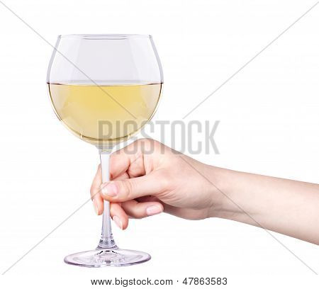 white wine glass with hand isolated