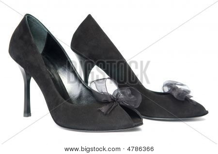 Black Female Shoes With Decorations