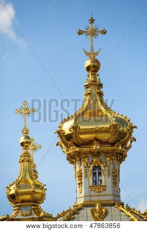 Closeup of golden cupola in Summer Gardens - Peterhof, Russia.