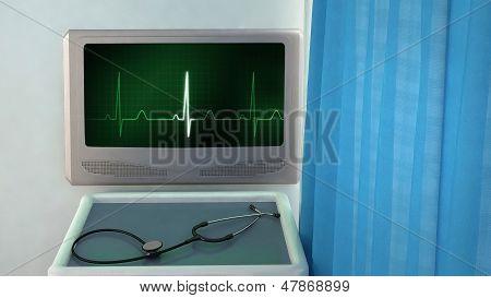 Ekg Monitor Medical Room Closeup