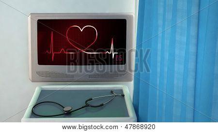 Love Heart Of Ekg Medical Room Closeup