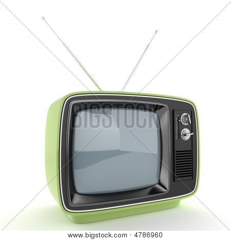 Green Retro Tv Perspective