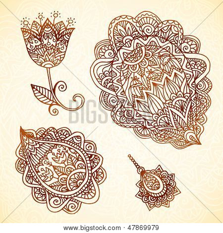 Ornate vintage vector elements in Indian style