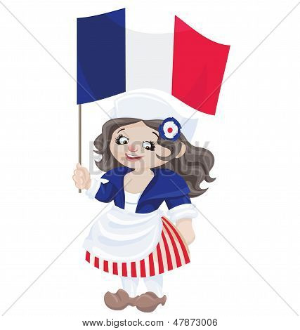 Cute Cartoon Girl In Sans Culottes Costume