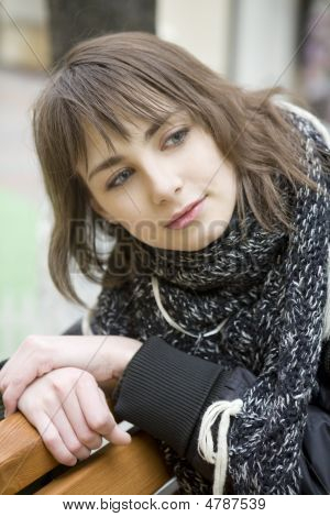 Young Attractive Woman Sitting On Bench In State Department Store. Moscow. Shopping