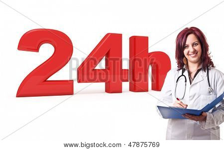 3d image of 24h and woman doctor