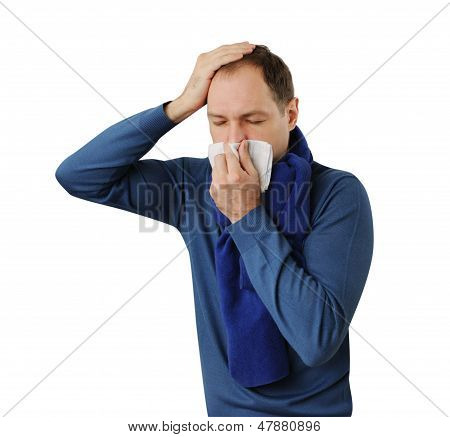 Man Blowing His Nose And His Holding Head Isolated On White Background
