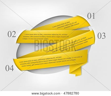 Bubble speech with yellow ribbon