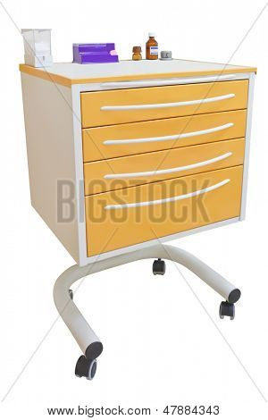 Medical movable bedside-table isolated under the white background