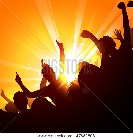 Cheering crowd at a concert in the sun