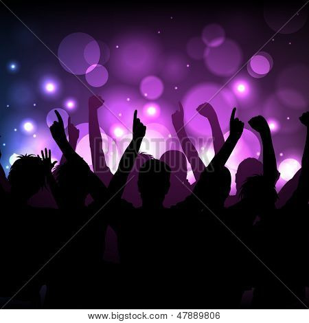 Vector background - cheering crowd at a concert or in a club