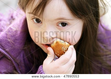 Portrait Of Beautiful Girl That Eating Baguette