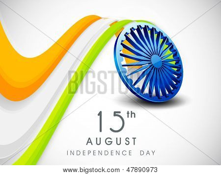 Independence Day concept with 3D ashoka wheel on Indian tricolors wave background.