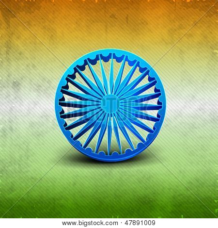 3D Ashoka wheel on Indian tricolors background for Independence Day and Republic Day.
