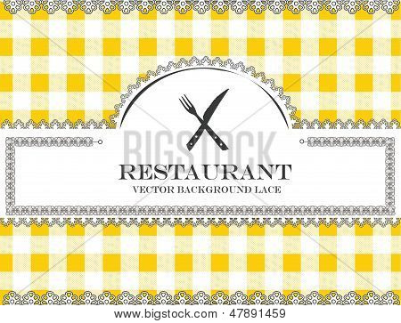 cutlery blackboard lace menu restaurant ,cloth pattern vector