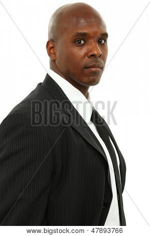 Attractive Black Man in Suit and Tie over White