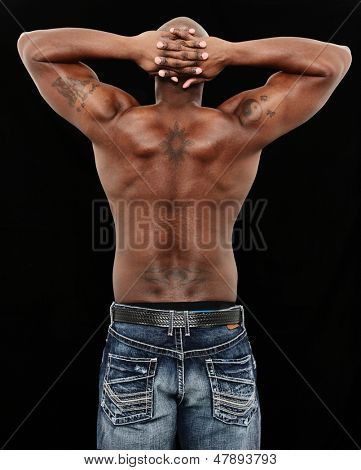 Back of Fit Black Man in Jeans