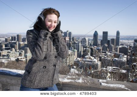 Woman Smiling On Cold Winter Day