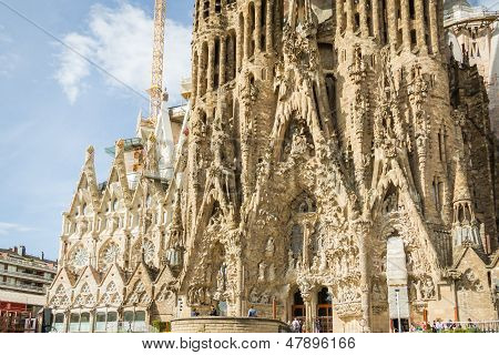 Architecture Detail Of The Sagrada Familia Cathedral, Designed By Antoni Gaudi, In Barcelona, Spain