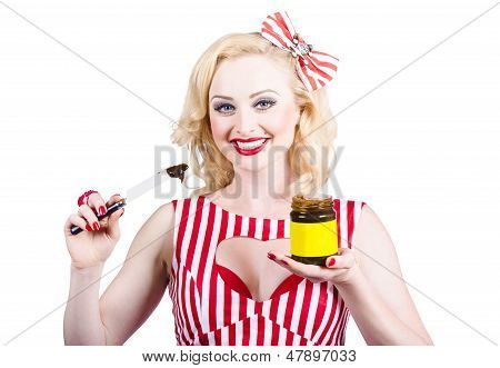 Australian Pinup Woman Holding Sandwich Spread