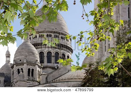 The Sacre Coeur in a green setting ( Montmarte Paris France)