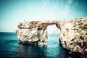 picture of gozo  - Azure Window famous stone arch on Gozo island Malta - JPG