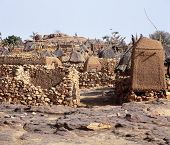 picture of dogon  - Traditional Graineries in Dogon village Lower Idjeli Mali - JPG