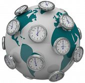 Many clocks around the world to illustrate international time zones and travel changes in hours