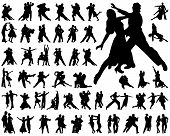 stock photo of tango  - Black silhouettes of tango players - JPG