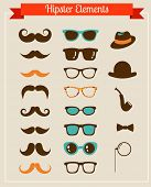 foto of geek  - Hipster Vintage retro set of icons and illustrations - JPG