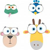 picture of cute animal face  - Cartoon Illustration of Animal Face with big eye - JPG