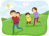 picture of stickman  - Illustration of Stickman Family Running on the Hills - JPG