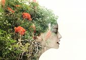stock photo of surrealism  - Artistic surreal female profile in a metamorphosis with nature - JPG