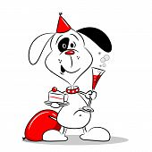stock photo of dog birthday  - A cartoon dog at a birthday party with cake and drink - JPG
