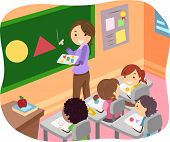 foto of stickman  - Illustration of Stickman Kids Learning Shapes in a Classroom - JPG