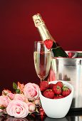 picture of champagne color  - Romantic still life with champagne - JPG