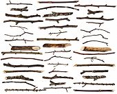 image of wood pieces  - Collection set of dry wood branches isolated on a white background - JPG