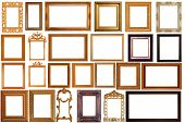 image of path  - Set of Vintage Gold Picture Frame Isolated With Clipping Path - JPG