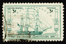 pic of uss constitution  - A 1947 issued 3 cent United States postage stamp showing USS Frigate Constitution - JPG