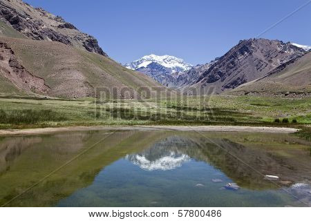 Aconcagua Mountain Reflected At A Lake.