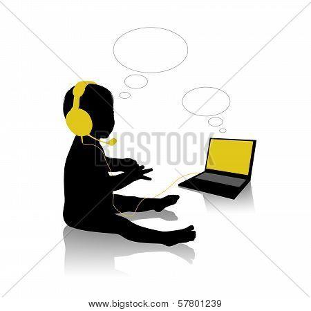 Little Baby In Big Headphones Speaking On Internet