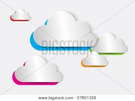 Abstract Colorful Paper Cloud For Computing, Web, Apps - Vector Illustration