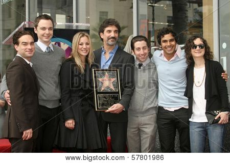 Chuck Lorre with the cast of 'Big Bang Theory' at the Ceremony Honoring Chuck Lorre with the 2,380th Star on the Hollywood Walk of Fame. Hollywood Boulevard, Hollywood, CA. 03-12-09