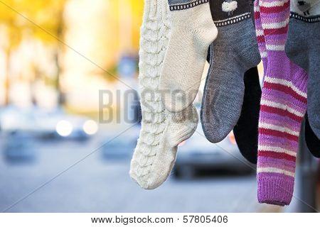Hanging Handmade Knit Socks