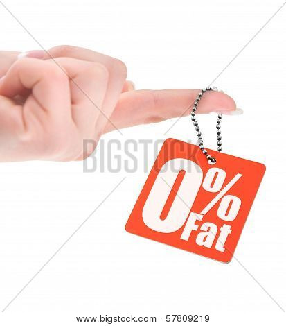 Hand Holding Zero Percent Fat Tag