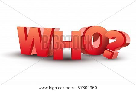 The Word Who In Red 3D Letters