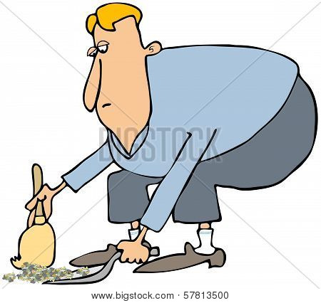 Man cleaning with a dustpan & broom